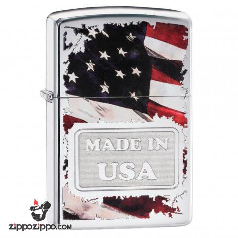 Zippo 29679 – Zippo Made in USA with Flag High Polish Chrome