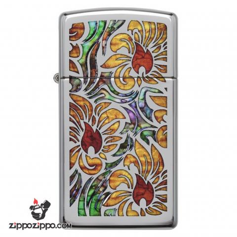 Zippo 29702 – Zippo Slim Fusion Floral Pattern High Polish Chrome