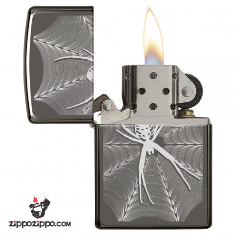 Zippo 29733 – Zippo Engraved Spider and Web Black Ice