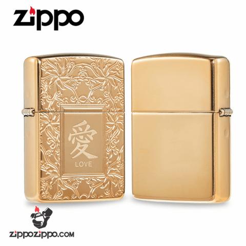 Zippo Armor đồng khối hoa văn Luxury chính giữa khắc chữ Ái tiếng Hoa ( Love )