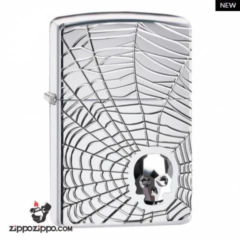 Zippo Armor khắc đa chiều hình ảnh mạng nhện đính kèm viên pha lê Swarovski SKULL