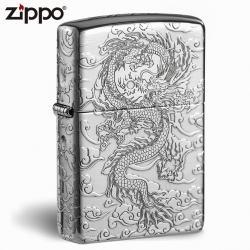Zippo Bạc nguyên khối  Cao Cấp khắc hình rồng châu Á  Dũng Mãnh bản Armor - Mã SP: ZPC1700