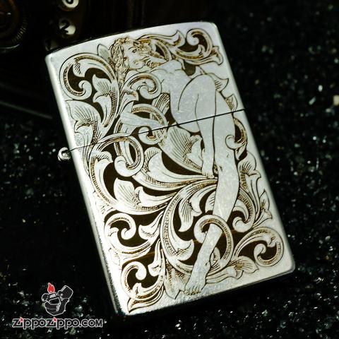 Zippo bạc xước khắc họa tiết cô gái