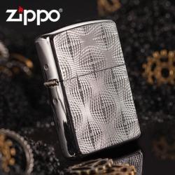 Zippo Chính Hãng Bạc Họa Tiết Kẻ Nổi 3D - Mã SP: ZPC1287
