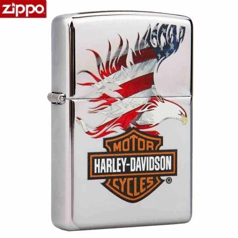 Zippo Chính Hãng Bạc In Hình Đại Bàng USA Harley Davidson