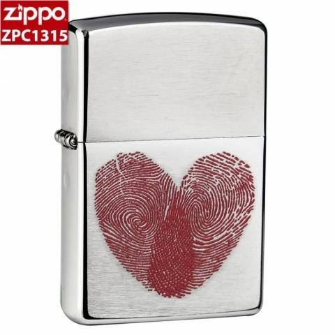 Zippo Chính Hãng Bạc In hình dấu vân tay trái tim