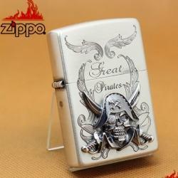 Zippo Chính Hãng Bạc Phiên Bản Giới Hạn Hải Tặc Đầu Lâu Nổi - Mã SP: ZPC1061