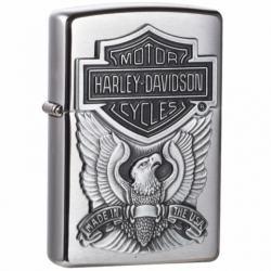 Zippo Chính Hãng Bạc Vỏ Gắn Huy Hiệu Motor Harley Davidson - Mã SP: ZPC1322