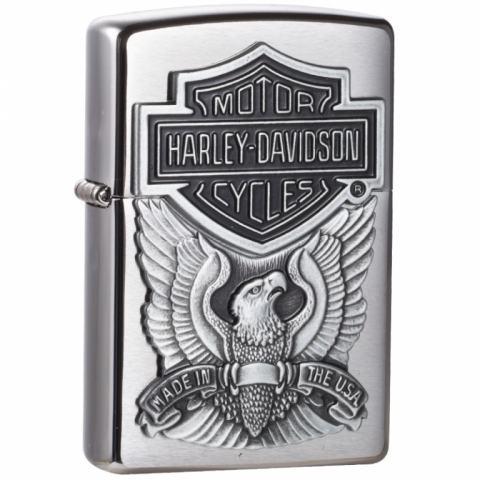 Zippo Chính Hãng Bạc Vỏ Gắn Huy Hiệu Motor Harley Davidson
