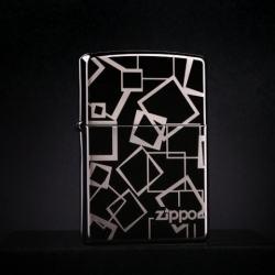 Zippo Chính Hãng Đen Bóng họa tiết Hình Vuông Ver 1 - Mã SP: ZPC1349