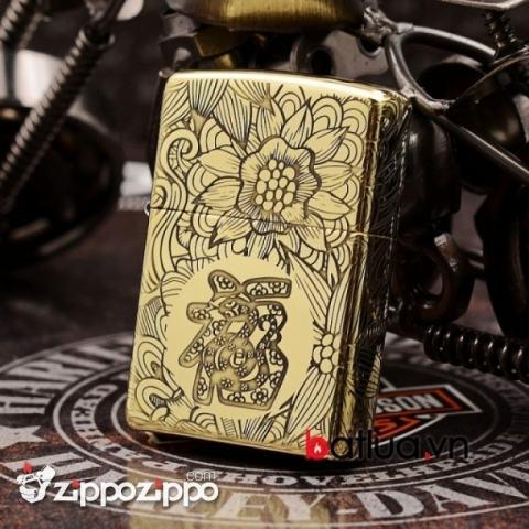 Zippo Chính Hãng Đồng Khắc 12 Con Giáp Tuổi Rắn