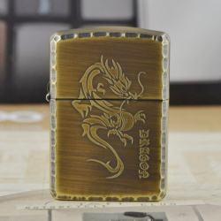 Zippo Chính Hãng Đồng Xanh Nguyên Khối Khắc Rồng - Mã SP: ZPC1192