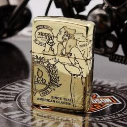 Zippo Chính Hãng Genuine đồng nguyên chất xung quanh cô gái chạm khắc cổ điển - Mã SP: ZPC1178-254