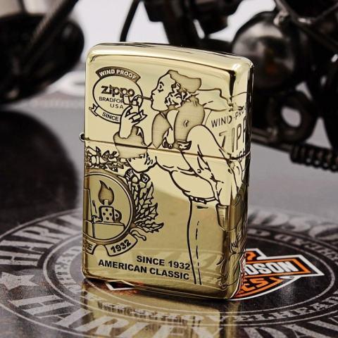 Zippo Chính Hãng Genuine đồng nguyên chất xung quanh cô gái chạm khắc cổ điển