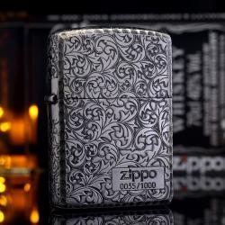 Zippo Chính Hãng mạ bạc phiên bản giới hạn hai mặt arabesque Vỏ dày Armor - Mã SP: ZPC1955