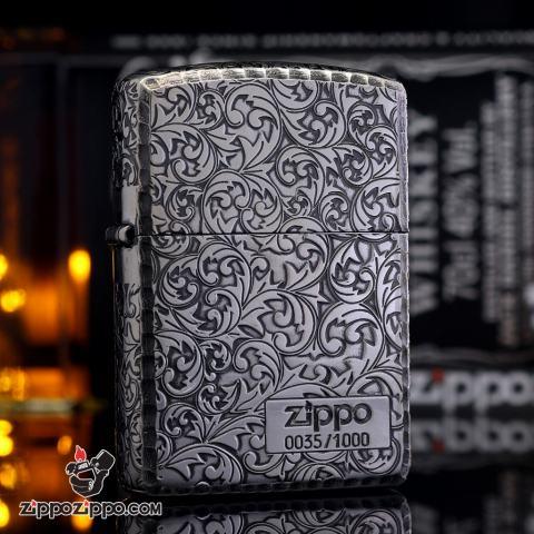 Zippo Chính Hãng mạ bạc phiên bản giới hạn hai mặt arabesque Vỏ dày Armor