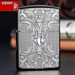 Zippo Chính Hãng Màu Đen Bóng Hoa Văn Đính Đá Vỏ Dày - Mã SP: ZPC1302
