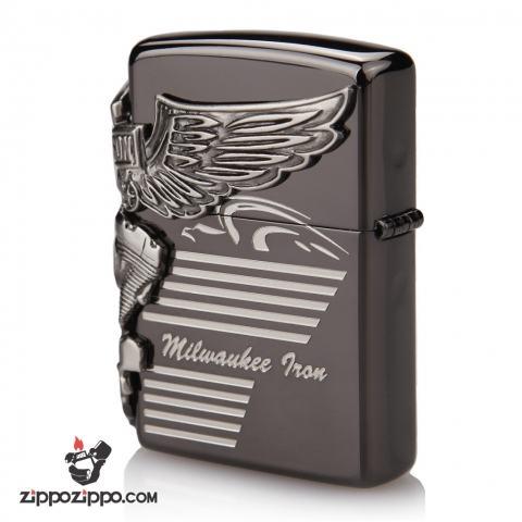 Zippo Chính Hãng Màu Đen Khối Hình Động Cơ Harley Davidson Bên Sườn