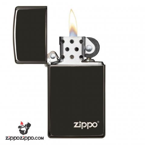 Zippo Chính Hãng Màu Đen Mun In Chữ Zippo