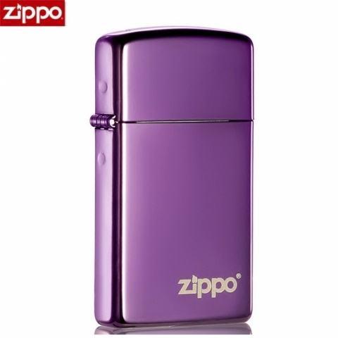 Zippo Chính Hãng Màu Tím Bản Hẹp Cùng Logo Zippo