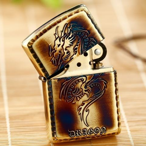 Zippo Chính Hãng Màu Vàng Đốt Khắc Họa Tiết Rồng Vỏ Dày Armor
