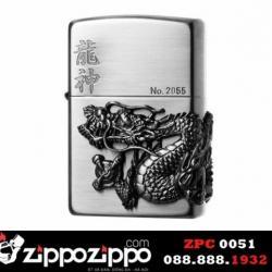 Zippo chính hãng màu xám phiên bản giới hạn đúc Rồng tinh xảo - Mã SP: ZPC0051