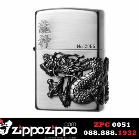 Zippo chính hãng màu xám phiên bản giới hạn đúc Rồng tinh xảo