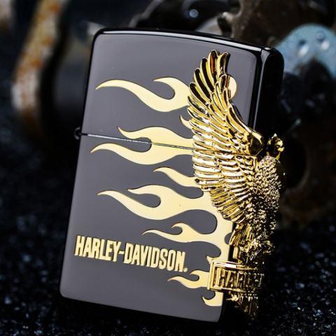 Zippo Chính Hãng Phiên Bản Harley Davidson Màu Đen Có Hình Chim Ưng Mạ Vàng Bên Sườn