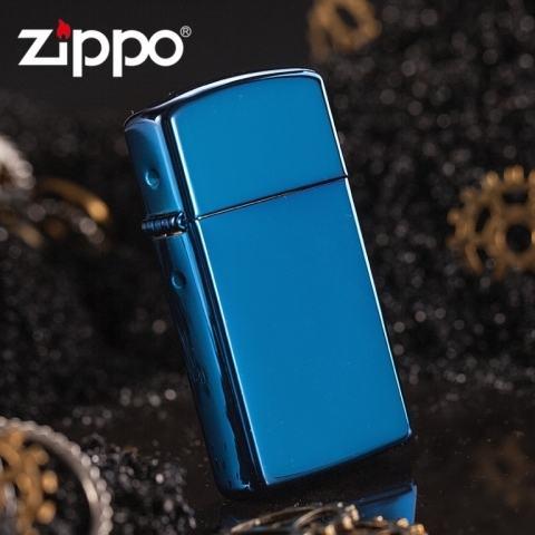 Zippo Chính Hãng Xanh Saphire Bản Hẹp