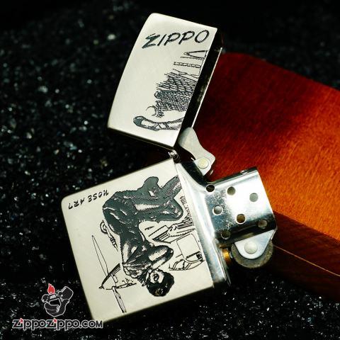 Zippo cổ bạc khắc chữ Nose Art Ver.2