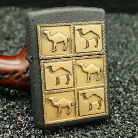 zippo cổ mầu đen camel sơn