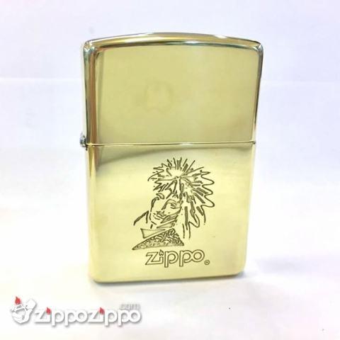 Zippo cổ khắc logo mặt người vỏ đồng sản xuất năm 1994