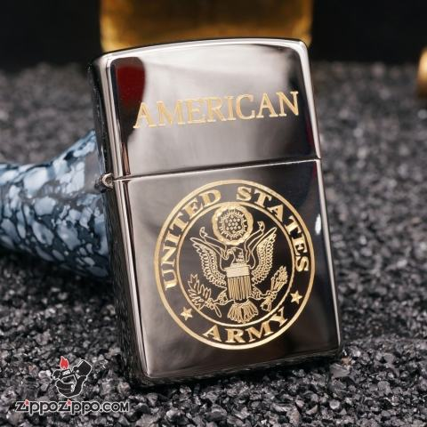 zippo đen bóng khắc american mạ vàng