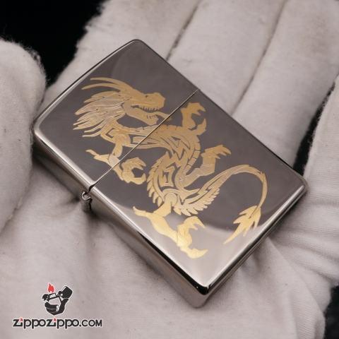 zippo đen bóng khắc hình rồng