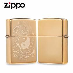 Zippo đồng khối khắc Laser hình ảnh Long tranh Hổ đấu - Mã SP: ZPC2400