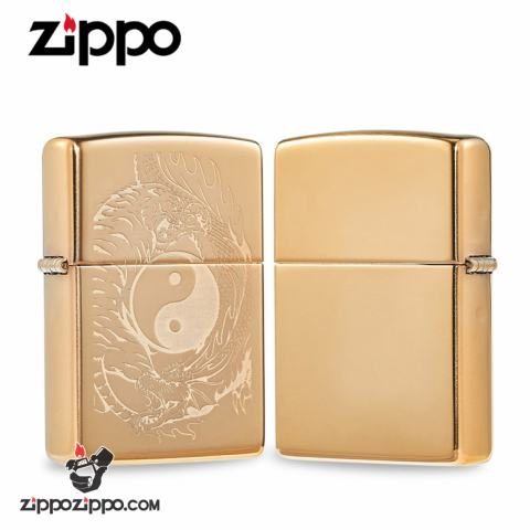 Zippo đồng khối khắc Laser hình ảnh Long tranh Hổ đấu