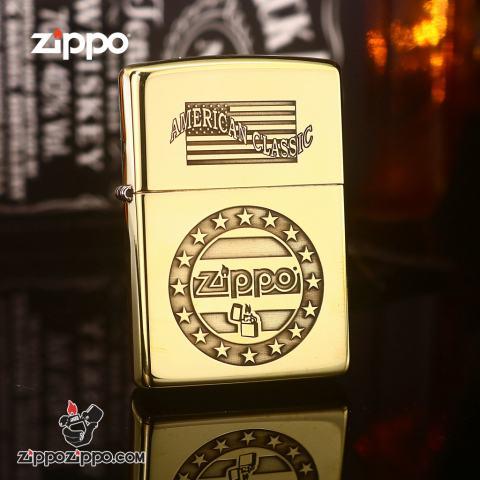 Zippo Đồng Nguyên Khối Khắc AMERICAN CLASSIC Ver.1