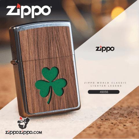 Zippo khắc Laser  ảnh cỏ 4 lá may mắn trên miếng ốp gỗ