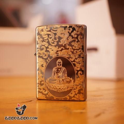 Zippo khắc phật mạ vàng mầu đen