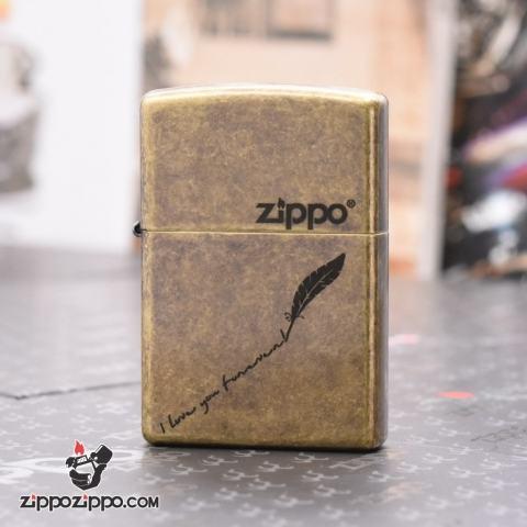 Zippo Mạ Đồng Giả Cổ KHắc Tôi Yêu Bạn Mãi Mãi