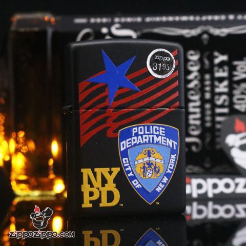 Zippo matte black sx năm 2003 huy hiệu cảnh sát New York