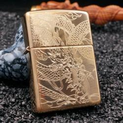 zippo vàng khắc rồng quấn quanh bản armor - Mã SP: ZPC1981